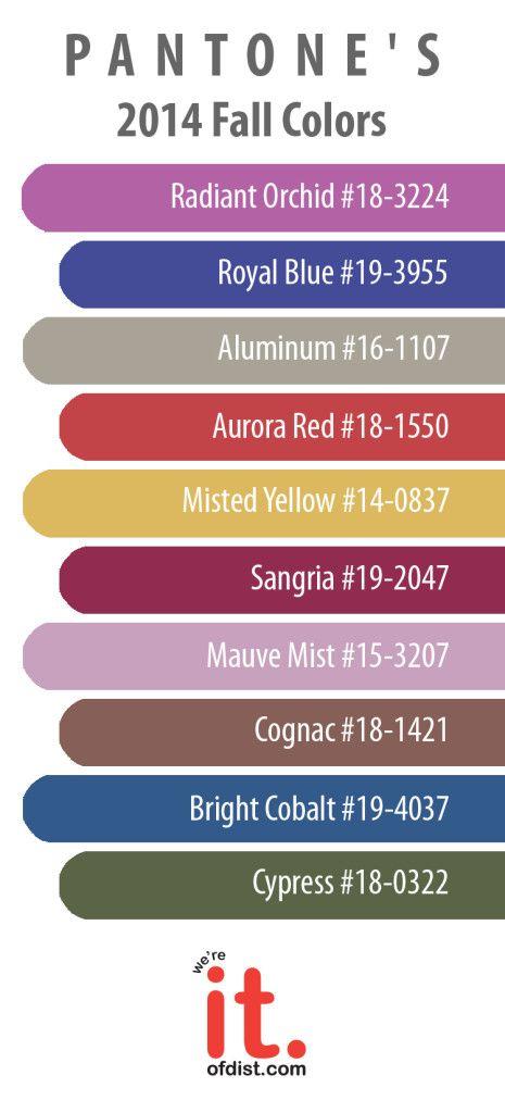 Pantone's 2014 Fall Colors! #design #color