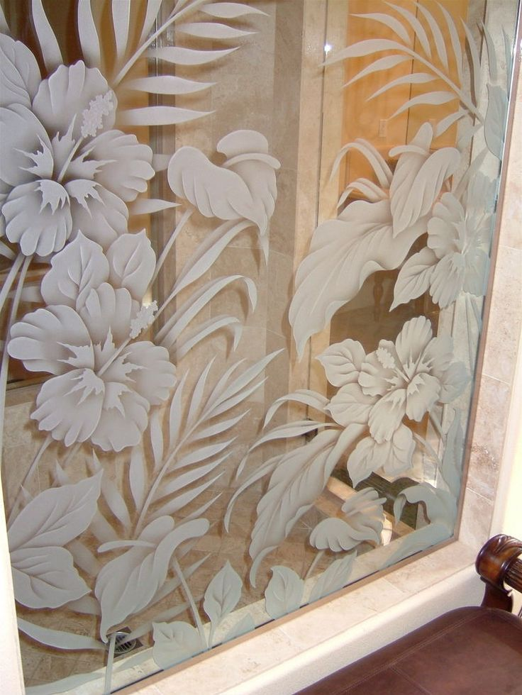 Beautiful etched windows and glass | Glass Partitions :: Etched Frosted Interior Glass Panels :: Hibiscus ...