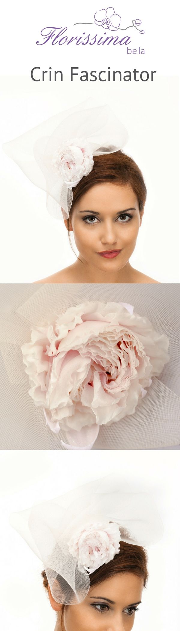 Off white crin fascinator with a handmade pink silk rose is an amazing accessory for a contemporary trendy bride. https://florissimabella.co.uk/product/crin-fascinator-2/
