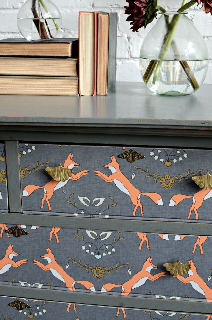 Dresser makeover by Barb Blair, wallpapered in Foxen by Holli Zollinger: http://www.spoonflower.com/wallpaper/460883