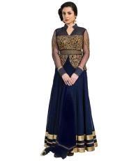 FABFIZA Navy Net Semi Stitched Dress Material