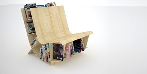 Bookseat – A Chair for Book Lovers - http://freshome.com/2008/02/29/bookseat-a-chair-for-book-lovers/