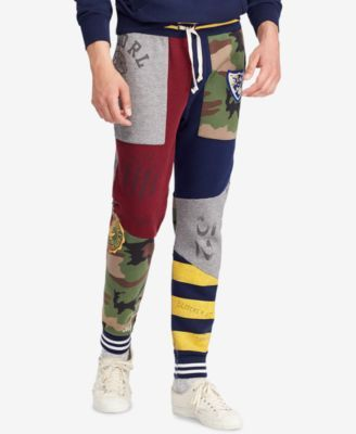 1ceb2cc2e Polo Ralph Lauren Men s Patchwork Fleece Jogger Pants - Classic Wine Multi  S. Men s Patchwork Fleece 27.5