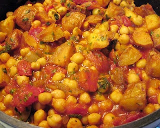 How to make Aloo Channa Masala (Spicy Indian Chickpeas & Potatoes): http://carolinasaucecompany.blogspot.com/2012/06/spicy-indian-chickpeas-potatoes-aloo.html