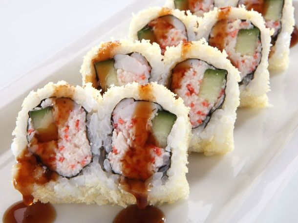 Tootsy Maki (RA Sushi) - Kani kama crab mix, shrimp & cucumber rolled & topped with crunchy tempura bits; drizzled with a sweet eel sauce