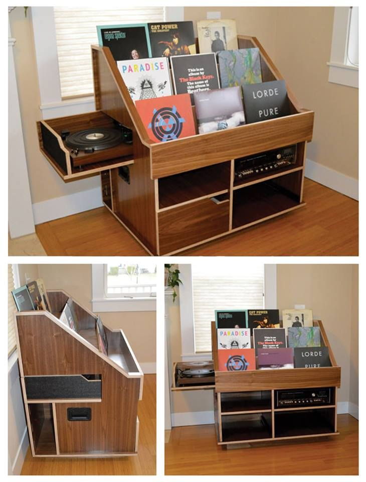 Handmade record player and vinyl collection display storage cabinet by the Hi-Phile Record Cabinet Company.