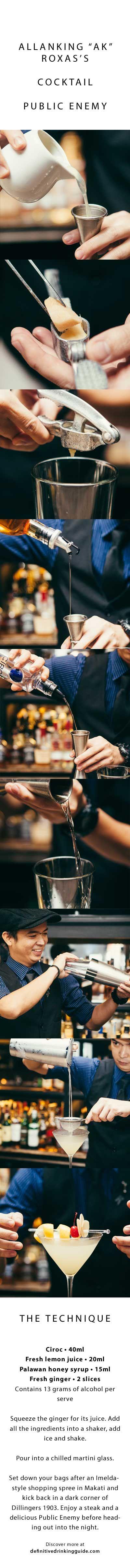 "Allanking ""AK"" Roxas´s Cocktail Public Enemy Please drink responsibly www.DRINKIQ.com"
