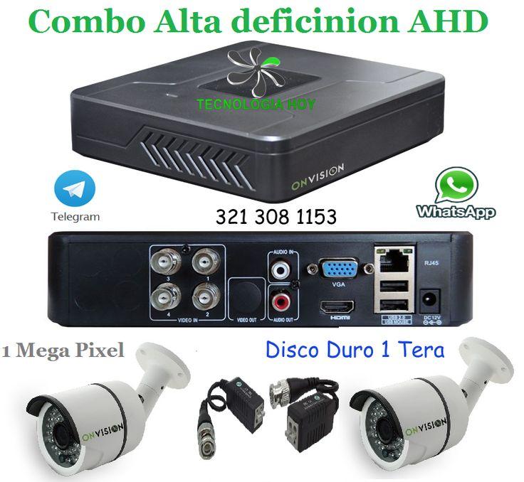 Combo Alta definición AHD 1 Mp Dvr 4 Ch Híbrido + 2 cámaras  + Disco duro 1 Tera + 4 Video Balun $ 560.000
