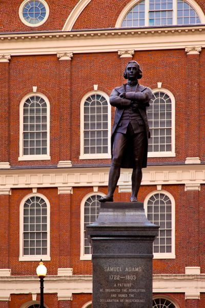 Statue of Samuel Adams in front of Faneuil Hall, Boston, Massachusetts.
