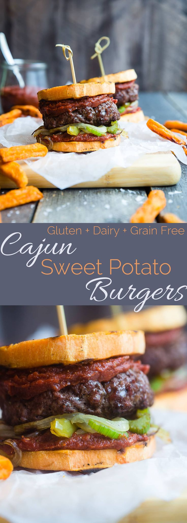 Healthy Cajun Burgers - These crowd-pleasing burgers use grilled sweet potatoes as buns instead of bread! They're a healthy gluten and dairy free summer meal for only 300 calories! | Foodfaithfitness.com | @FoodFaithFit via @FoodFaithFit