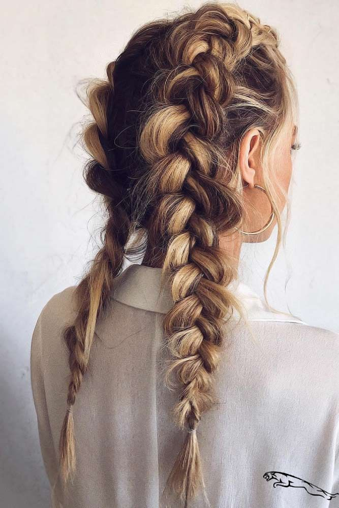30 Flattering Haircuts And Hairstyles For Diamond Face Shape   Double Dutch Braids #faceshapehairstyles #diamondfaceshape ❤ Seeking trendy hairstyles for diamond face shape? Short pixie cuts with bangs, layered shoulder length haircuts and many hairstyles for long hair are here to update your style! ❤ #lovehairsty #frisuren