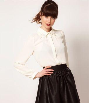 ST310 new fashion womens' elegant white Beading collar Floral Blouse Shirt casual elegant vantage tops brand design blouse
