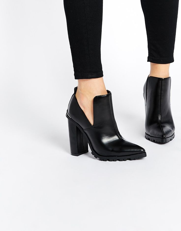 Image 1 of ASOS EDGWARE Pointed Cut Out Ankle Boots