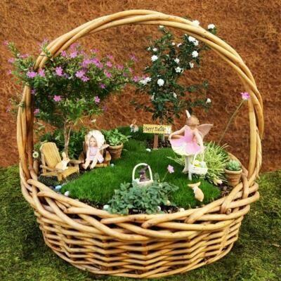 Fairy garden in a basket