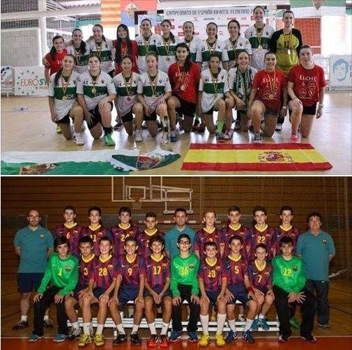 Felicidades al Elche CF y al FC Barcelona, las dos mejores canteras de España 2014 en categoría infantil femenino y masculino, respectivamente #balonmano #balonmanobase #CDEInfantilBM