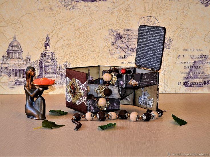 Купить Шкатулка для украшений и мелочей Влюбленные... в Париж! - коричневый, авторская работа, подарки для женщин