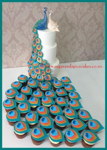 peacock wedding cakes with cupcakes - Google Search