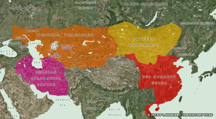 Map of Central Asia AD 550-600. Mystery of History Volume 2, Lesson 28 #MOHII28