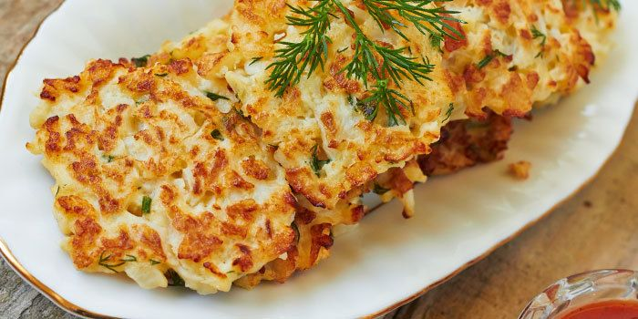 Healthy baked cauliflower latkes recipe