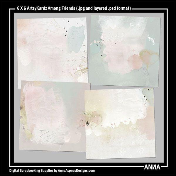 Oscraps :: Shop by Designer :: Anna Aspnes Designs :: 6 X 6 ArtsyKardz Among Friends #art #digitalart #scrapbook #photography