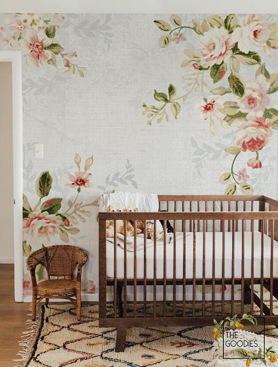 Peachy Floral Wallpaper Soft Flowers Victorian Vintage Floral Wall Mural Vintage Florals Peel And Stick Wallpaper Self Adhesive 13 Floral Wallpaper Wallpaper Paper Wallpaper