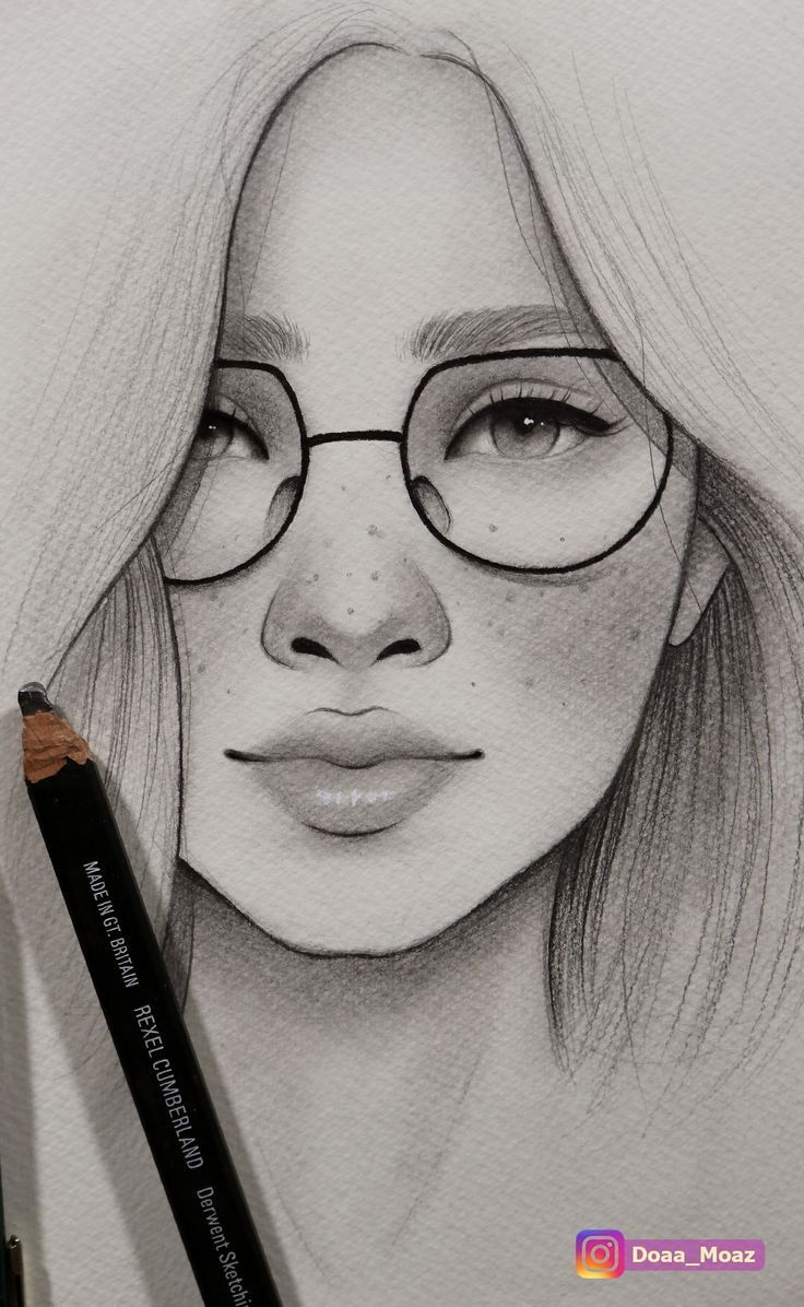 Girl With Glasses Drawing : glasses, drawing, Asiatisches, Mädchenporträt, Gläsern, Sommersprossen, Drawing, Sketches,, Drawings,, Drawings, Sketches, Creative