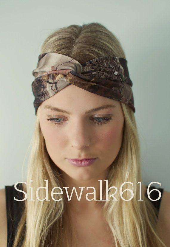 Camo Headband Real Tree Camo Head Wrap Turban by Sidewalk616