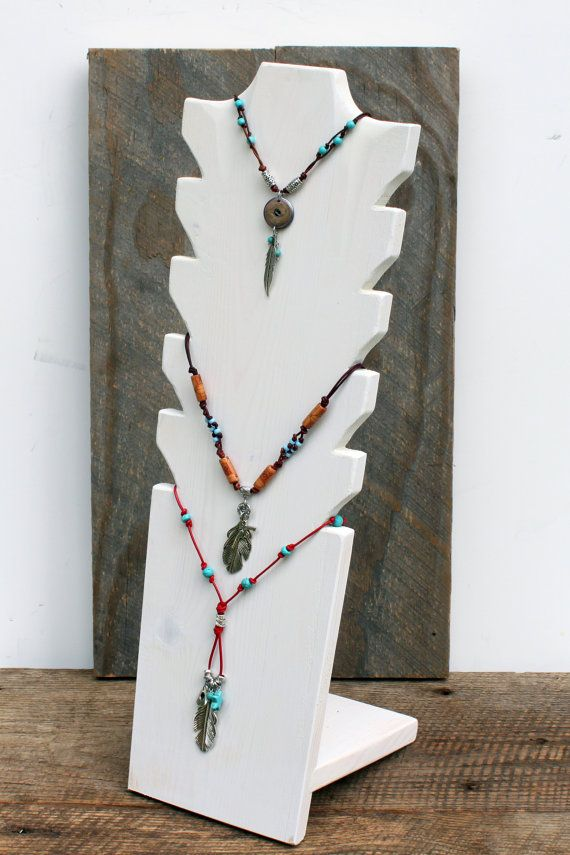 "Necklace Display, 22"" x 7"", Jewelry Display, Necklace Holder, Multi Tier…"