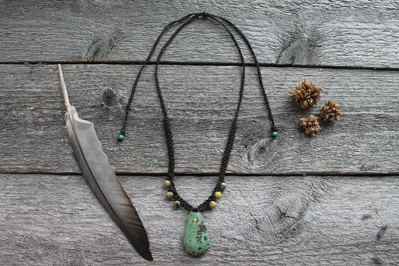 Handmade macrame necklace with natural turquoise by SuryaSoul