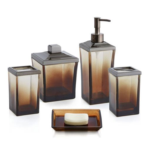 brown glass bathroom accessories. 5 Piece Glass Bath Accessory Set by Ombre 69 best Bathroom decor images on Pinterest  Candleholders Oil