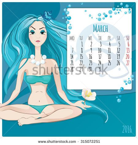 2016 new year. Calendar grid, the page for a month March. Astrological sign of the zodiac Pisces. Horoscope a calendar.
