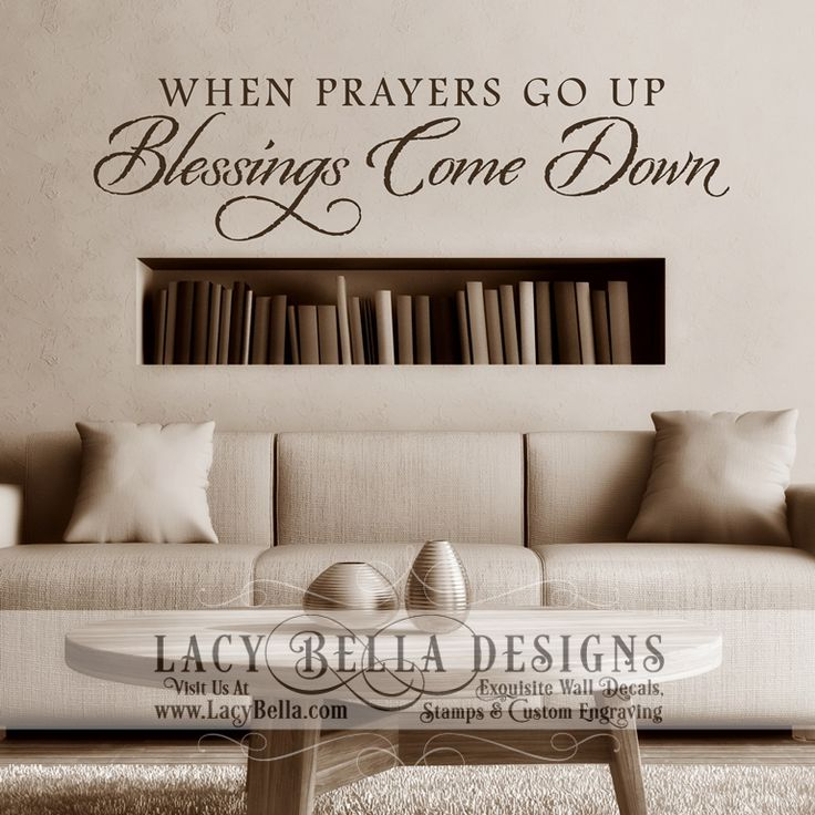 Wall art decals religious : Lacybella quot when prayers go up blessings come down