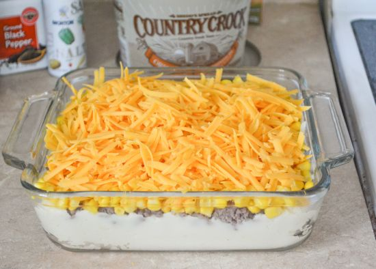 Family Recipes: Easy Shepherds Pie  Used loaded instant potatoes and added 1/2 large onion to ground beef