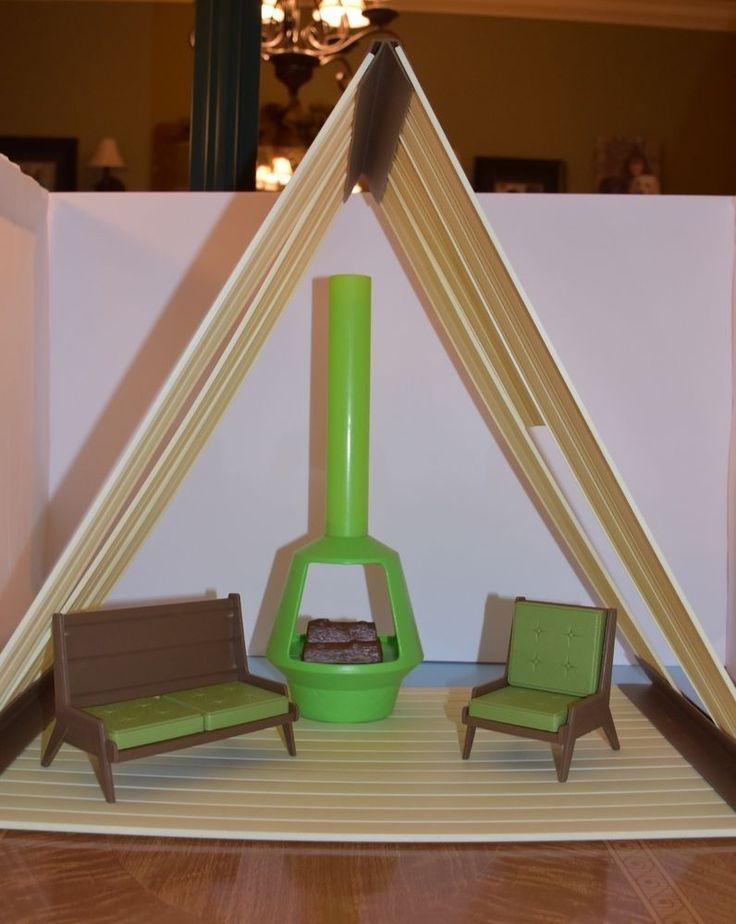 Vintage 1970's Barbie Ski Chalet with Fireplace & Furniture Rare  | eBay