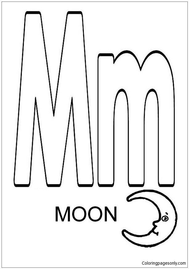 Letter M Coloring Pages Elegant Letter M For Moon Coloring Page Free Coloring Pages Line Moon Coloring Pages Online Coloring Pages Coloring Pages Inspirational