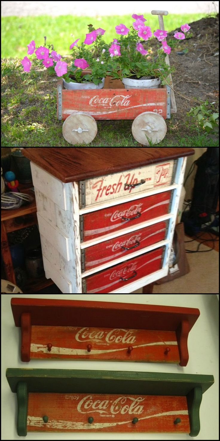 17 best coke crate ideas on pinterest old coke crates for Wooden soda crate ideas