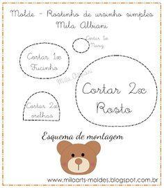 Mila Arts - moldes e PAP: Ursinhos imã de geladeira em feltro com Molde