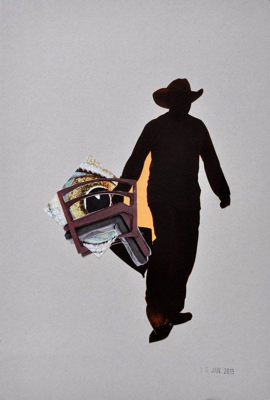 TO BUY: send an email to wegerer.roland@gmx.at € 260,– excl. shipping |   Cowboy | Collage on Cardboard, 19,6 x 29,0cm, 2015 Unique  The work comes with its certificate of authenticity signed by the artist. #RolandWegerer #instaSale #instaShop #forSale #product #sales #shopsmall #shopping #art #contemporary #collage