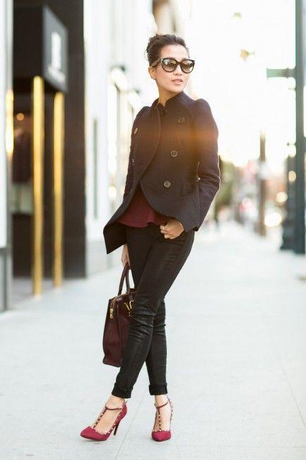 Topshop peplum top, Carven jacket t  Shoes :: Schutz   Bag ::  Sophie Hulme t  Accessories :: Prada sunglasses, Banana Republic & Tacori rings, Kohl's bracelet