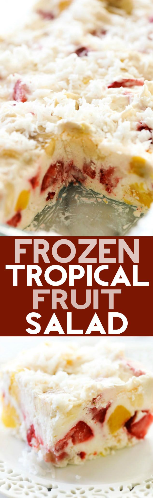 This Frozen Tropical Fruit Salad is a delicious combination of fruit and cream. It is frozen for the perfect easy treat to cool down with this summer!