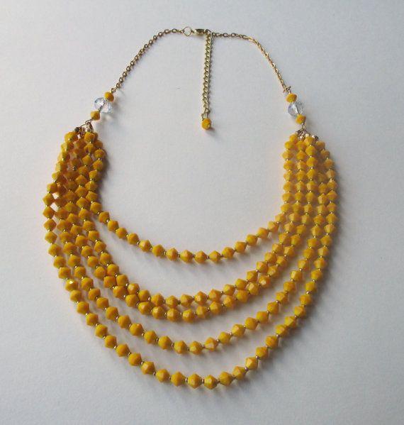 Yellow Statement Necklace by BeadsBanglesandBows on Etsy