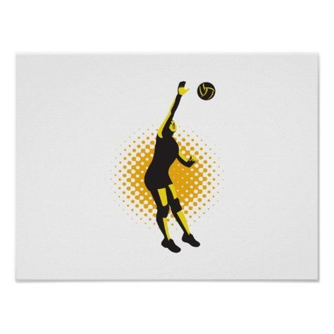 Volleyball Player Spiking Ball Retro Poster. Illustration of a female volleyball player jumping spiking ball done in retro style. #volleyball #olympics #sports #summergames #rio2016 #olympics2016