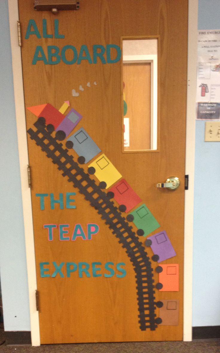 Preschool transportation door decoration. As kids faces to ...