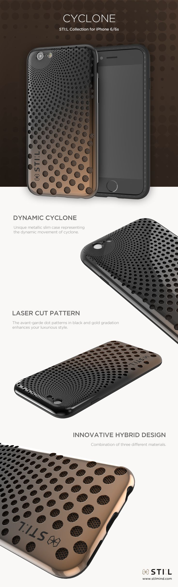 CYCLONE - Dynamic cyclone effects moving unexpectedly. Available in Black Gold #dynamic #dotpattern #dot #stil #stilcase #stilmind #mobile #fashion #design #case #iphone6 #iphone6s #2015fw