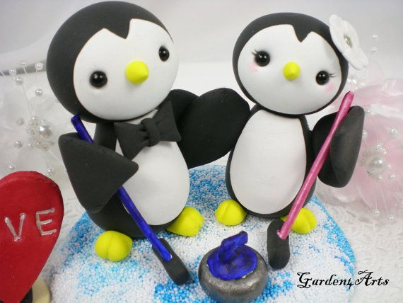 Custom Penguin Love Wedding Cake Topper with Clay by Garden4Arts, $79.00. Or... or... this with penguin skates instead of hockey! Squee