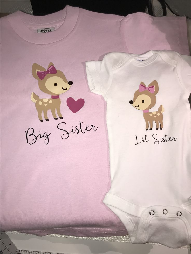Big Sister & Lil Sister Matching Tshirt and Onesie #baby #family #bigsister