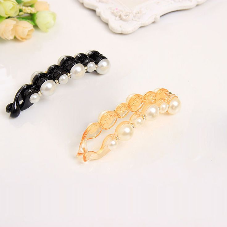 Special Design Orange & Black Beautiful Pearls Hairpins Hair Jewelry Clips Headwear Hair Accessories for Women
