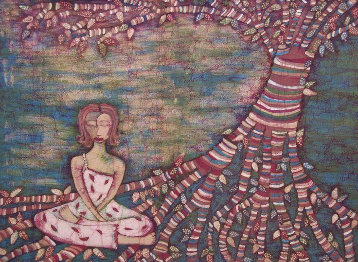 Madre Tierra. Técnica: Batik sobre algodón. Dimensiones: 130x95 cm.