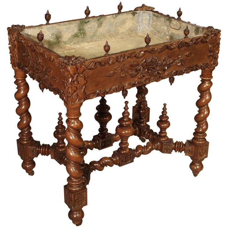 Fantastic 19th Century Walnut Wood Table And Jardiniere