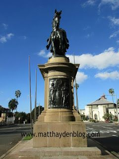 Striking monument of King Edward VII on horseback. (The man himself can't be seen in this shot, just the horse. )